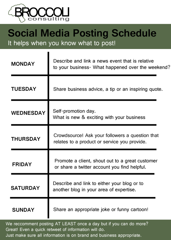 BROCCOLI Consulting Social Media Posting Schedule